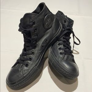 Women's Leather Converse All Stars Black Size 9